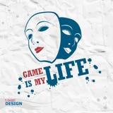 Tipografia di Geme, grafici della maglietta Il gioco è la mia vita Immagini Stock