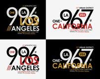 Tipografia di Los Angeles California di sport atletico per la stampa della maglietta illustrazione di stock