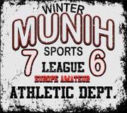 Tipografia di Munih di sport atletico, grafici della maglietta, vettori illustrazione vettoriale