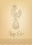 Tipografia disegnata a mano del pulcino etnico della carta di pasqua Immagine Stock