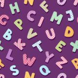 A tipografia do alfabeto dos retalhos rotula o fundo sem emenda do teste padrão da ilustração chique bonito do vetor da decoração Fotos de Stock