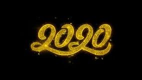 Tipografia do ano 2020 novo escrita com os fogos de artifício dourados das faíscas das partículas