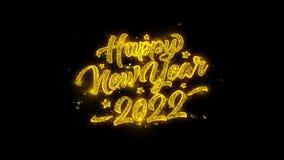 A tipografia 2022 do ano novo escrita com partículas douradas acende fogos de artifício