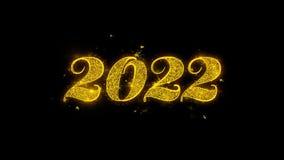 Tipografia do ano 2022 novo feliz escrita com os fogos de artifício dourados das faíscas das partículas