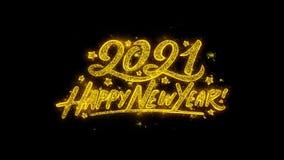 A tipografia 2021 do ano novo feliz escrita com part?culas douradas acende fogos de artif?cio