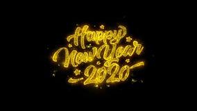 a tipografia do ano 2020 novo feliz escrita com partículas douradas acende fogos de artifício