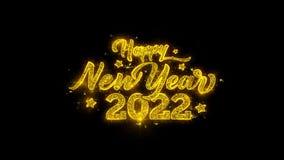 A tipografia 2022 do ano novo feliz escrita com partículas douradas acende fogos de artifício