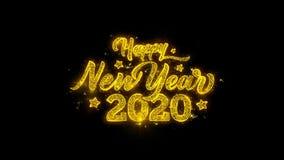 A tipografia 2020 do ano novo feliz escrita com part?culas douradas acende fogos de artif?cio