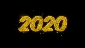 a tipografia do ano 2020 novo feliz escrita com part?culas douradas acende fogos de artif?cio