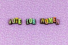 Tipografia do apoio do feminismo da eleição da mulher do voto fotos de stock