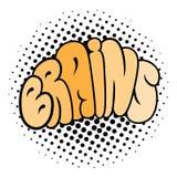 Tipografia do cérebro dos desenhos animados Fotografia de Stock Royalty Free