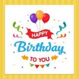 Tipografia do cartão da etiqueta do feliz aniversario com o ornamento da decoração do partido ilustração royalty free