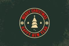Tipografia do Feliz Natal e do ano novo feliz Logotipo do vetor, emblema, projeto do texto Útil para as bandeiras, os cartões, os Fotografia de Stock Royalty Free