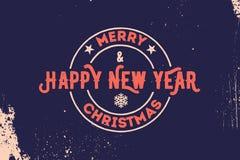 Tipografia do Feliz Natal e do ano novo feliz Logotipo do vetor, emblema, projeto do texto Útil para as bandeiras, os cartões, os Imagem de Stock