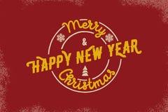 Tipografia do Feliz Natal e do ano novo feliz Logotipo do vetor, emblema, projeto do texto Útil para as bandeiras, os cartões, os Fotografia de Stock