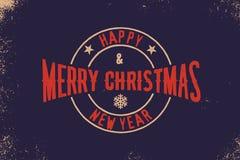 Tipografia do Feliz Natal e do ano novo feliz Logotipo do vetor, emblema, projeto do texto Útil para as bandeiras, os cartões, os Fotos de Stock