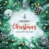 Tipografia do FELIZ NATAL E do ANO NOVO FELIZ, texto com ornamento do Natal fotografia de stock royalty free