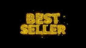 A tipografia do melhor vendedor escrita com partículas douradas acende fogos de artifício