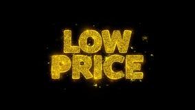 A tipografia do preço baixo escrita com partículas douradas acende fogos de artifício