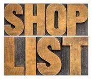 Tipografia do sumário da palavra da lista da loja Imagens de Stock