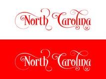 Tipografia Dos EUA Carolina States Handwritten Illustration norte no oficial U S Cores do estado ilustração royalty free