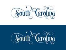 Tipografia Dos EUA Carolina States Handwritten Illustration sul no oficial U S Cores do estado ilustração royalty free