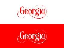 Tipografia Dos EUA Georgia States Handwritten Illustration no oficial U S Cores do estado ilustração do vetor