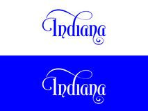 Tipografia Dos EUA Indiana States Handwritten Illustration no oficial U S Cores do estado ilustração royalty free