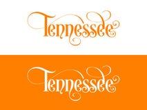 Tipografia Dos EUA Tennessee States Handwritten Illustration no oficial U S Cores do estado ilustração stock