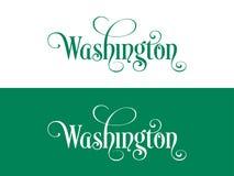 Tipografia Dos EUA Washington States Handwritten Illustration no oficial U S Cores do estado ilustração stock
