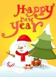 Tipografia e boneco de neve do ano novo feliz Foto de Stock Royalty Free
