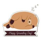 Tipografia e projeto felizes do dia de Groundhog com caráter bonito do groundhog fotografia de stock royalty free