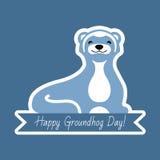 Tipografia e projeto felizes do dia de Groundhog com caráter bonito do groundhog Fotos de Stock
