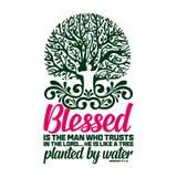 Tipografia ed iscrizione cristiane Illustrazione biblica Blessed è l'uomo che si fida di del signore royalty illustrazione gratis