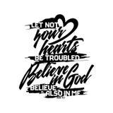 Tipografia ed iscrizione cristiane Illustrazione biblica Lasci i non vostri cuori illustrazione di stock