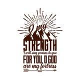 Tipografia ed iscrizione cristiane Illustrazione biblica O la mia forza royalty illustrazione gratis