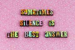 Tipografia esperta da sabedoria da melhor resposta do silêncio imagem de stock royalty free