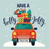 Tipografia estilizado do Feliz Natal Carro vermelho do vintage com árvore e caixas de presente de Natal Ilustração lisa do estilo ilustração stock