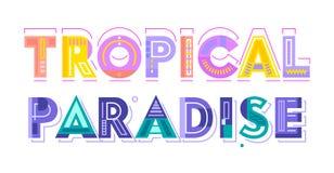 Tipografia, etichetta o distintivo variopinta tropicale di Paradise Modello per progettazione della cartolina d'auguri, del manif royalty illustrazione gratis