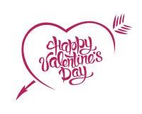 Tipografia felice della carta di giorno di biglietti di S. Valentino dell'illustrazione di vettore Un cuore con una freccia Fotografia Stock Libera da Diritti