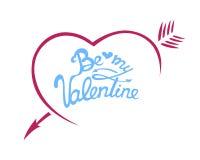 Tipografia felice della carta di giorno di biglietti di S. Valentino dell'illustrazione di vettore Un cuore con una freccia Fotografia Stock
