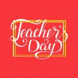Tipografia felice di giorno degli insegnanti Progettazione di iscrizione per la cartolina d'auguri illustrazione di stock