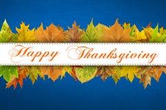 Tipografia feliz da ação de graças nas folhas de outono Imagens de Stock Royalty Free