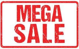 Tipografia mega di vendita isolata su bianco Imitazione del timbro di gomma royalty illustrazione gratis