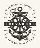 Tipografia nautica d'annata di Voyager un colore royalty illustrazione gratis