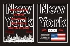 02 tipografia New York City, vetor Imagens de Stock