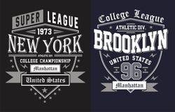 06 tipografia New York com brookyn, vetor ilustração stock