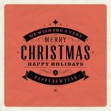 Tipografia retro do Natal e decoração do ornamento Imagens de Stock