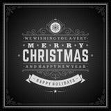 Tipografia retro do Natal e decoração do ornamento Imagem de Stock