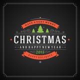 Tipografia retro do Natal e decoração do ornamento Imagem de Stock Royalty Free